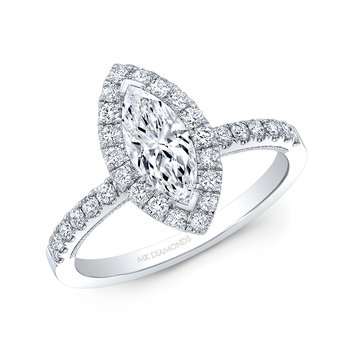 Proposal Ready 3/4 Carat Marquise Shape Center Diamond Halo Engagement Ring