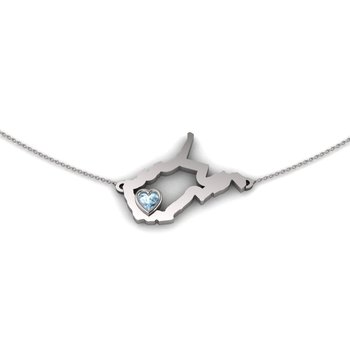 Sterling Silver Heart in West Virginia Necklace, with Heart Shape Aquamarine