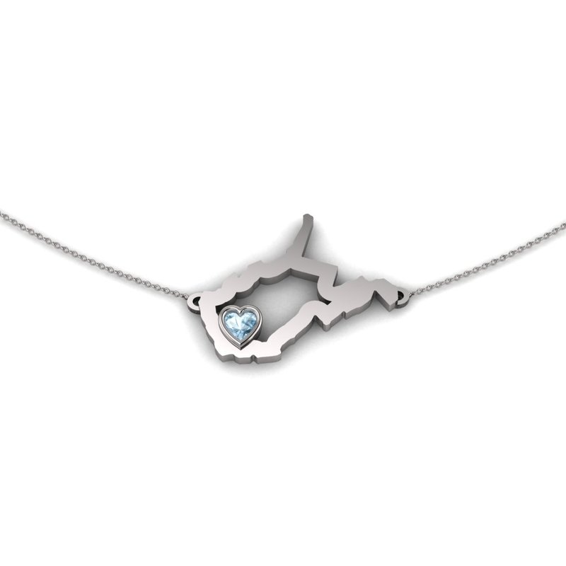 Heart in WV Sterling Silver Heart in West Virginia Necklace, with Heart Shape Aquamarine