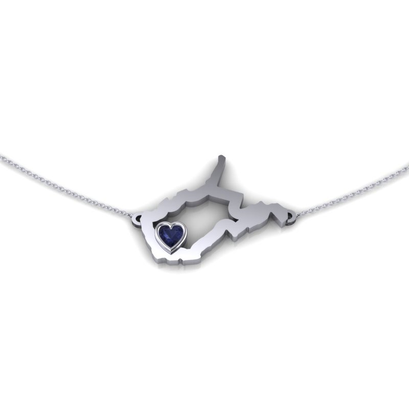 Heart in WV 14 Karat White Gold Heart in West Virginia Necklace, with Heart Shape Blue Sapphire