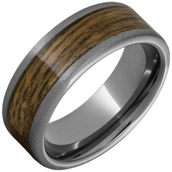 Barrel Aged Tungsten Wedding Band with Bourbon Barrel Aged™ Inlay and Stone Finish