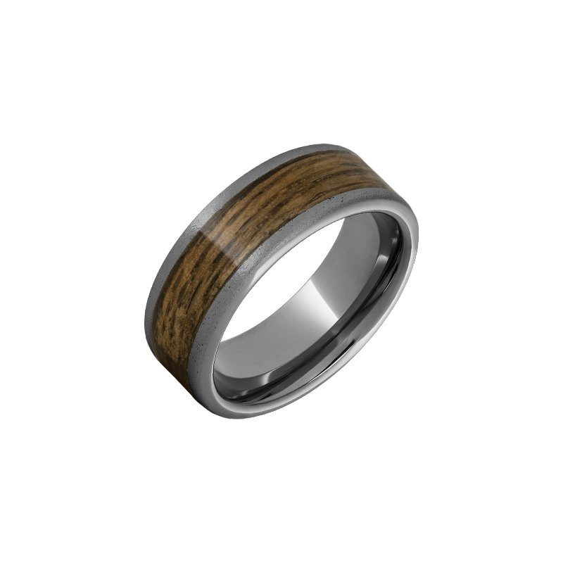 Calvin Broyles Barrel Aged Tungsten Wedding Band with Bourbon Barrel Aged™ Inlay and Stone Finish
