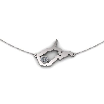 Sterling Silver Heart in West Virginia Necklace, with Heart Shape White Sapphire