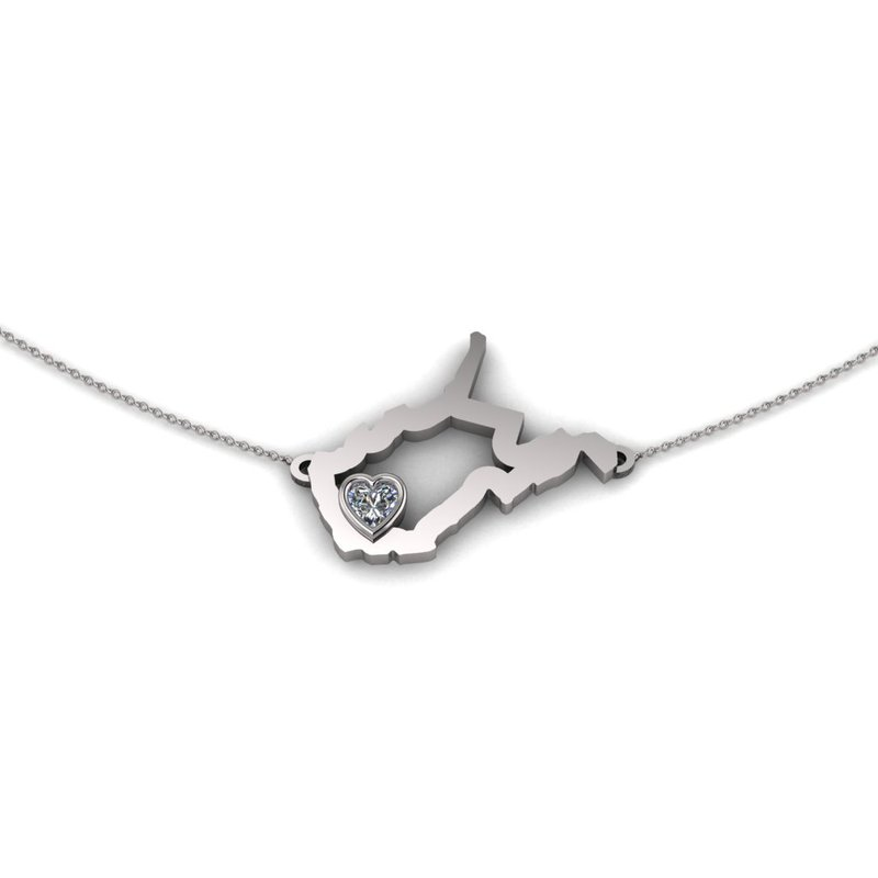 Heart in WV Sterling Silver Heart in West Virginia Necklace, with Heart Shape White Sapphire