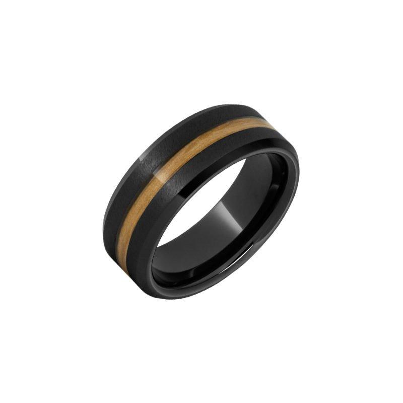 Calvin Broyles Barrel Aged Black Ceramic Beveled Edge Wedding Band with Chardonnay Barrel Aged™ Inlay and Grain Finish