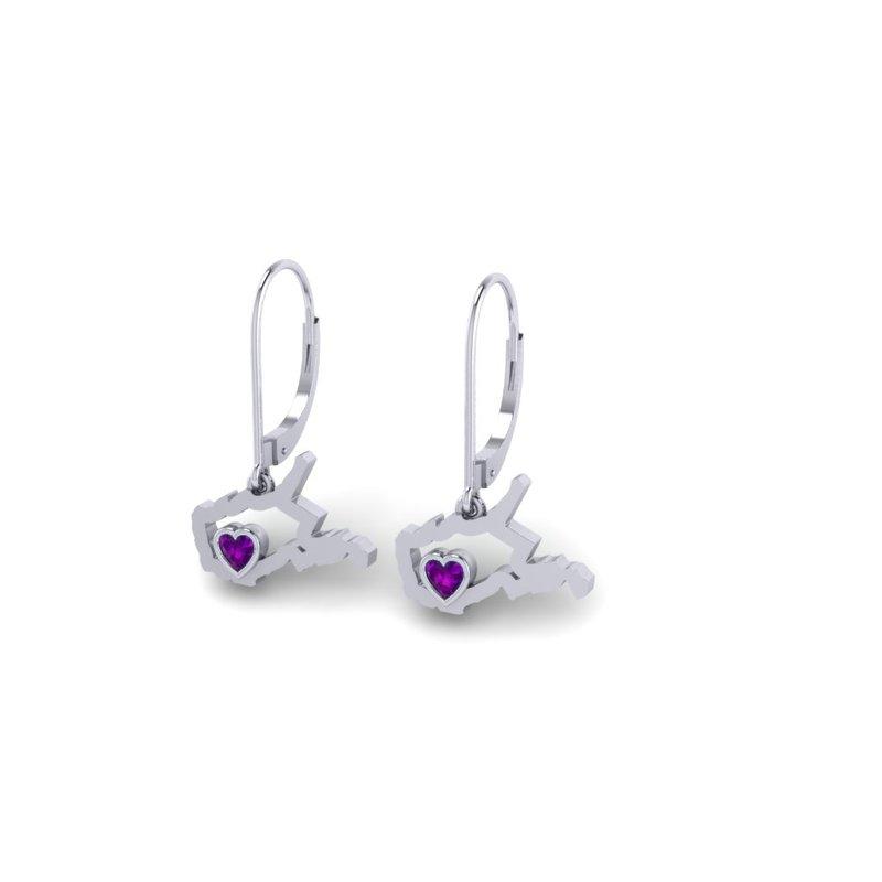 Heart in WV Sterling Silver Heart in West Virginia Amethyst Earrings