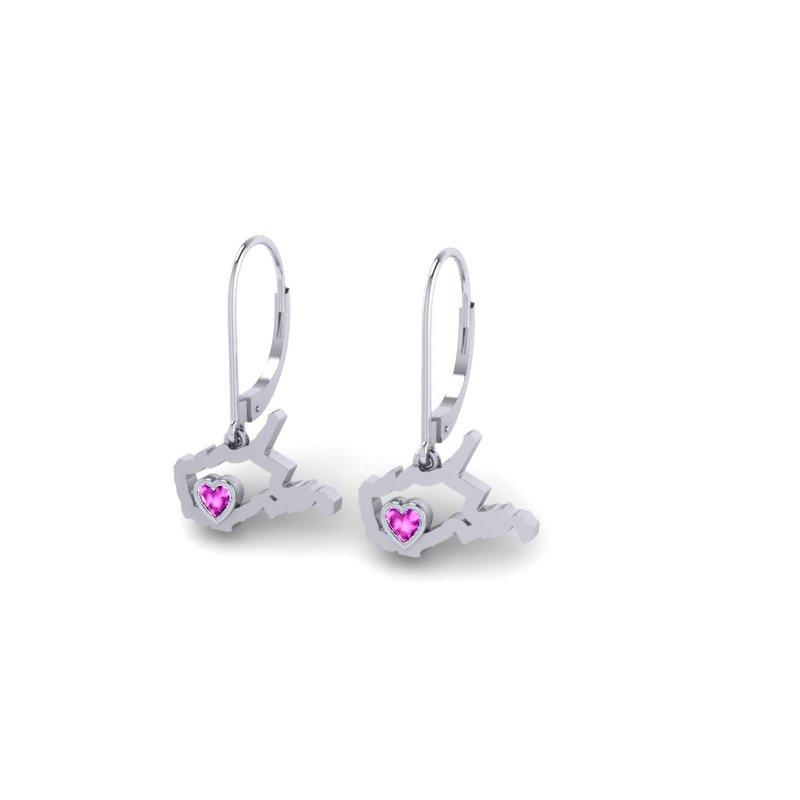 Heart in WV Sterling Silver Heart in West Virginia Pink Tourmaline Earrings