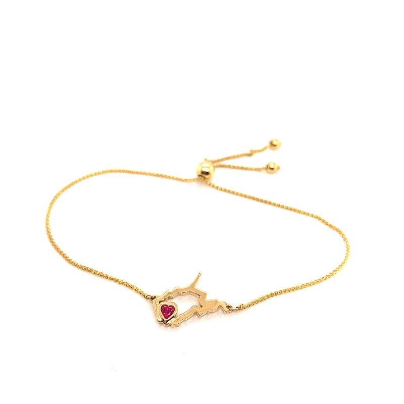 Heart in WV 14 Karat Yellow Gold Heart in West Virginia Bolo Bracelet with Heart Shape Ruby
