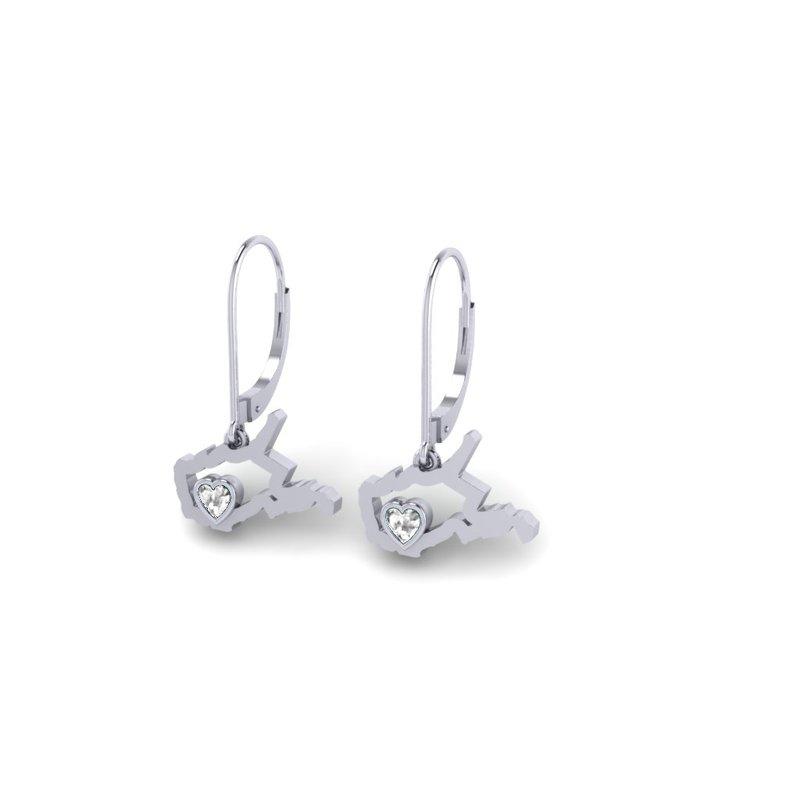 Heart in WV Sterling Silver Heart in West Virginia White Sapphire Earrings