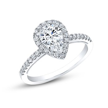Proposal Ready 3/4 Carat Pear Shape Center Diamond Halo Engagement Ring