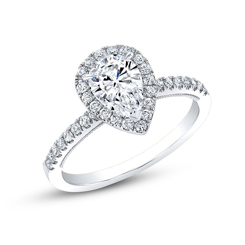 Calvin Broyles Proposal Ready 3/4 Carat Pear Shape Center Diamond Halo Engagement Ring