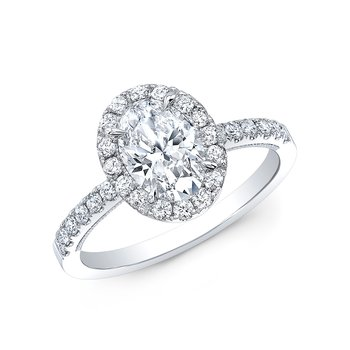 Proposal Ready 1/2 Carat Oval Shape Center Diamond Halo Engagement Ring