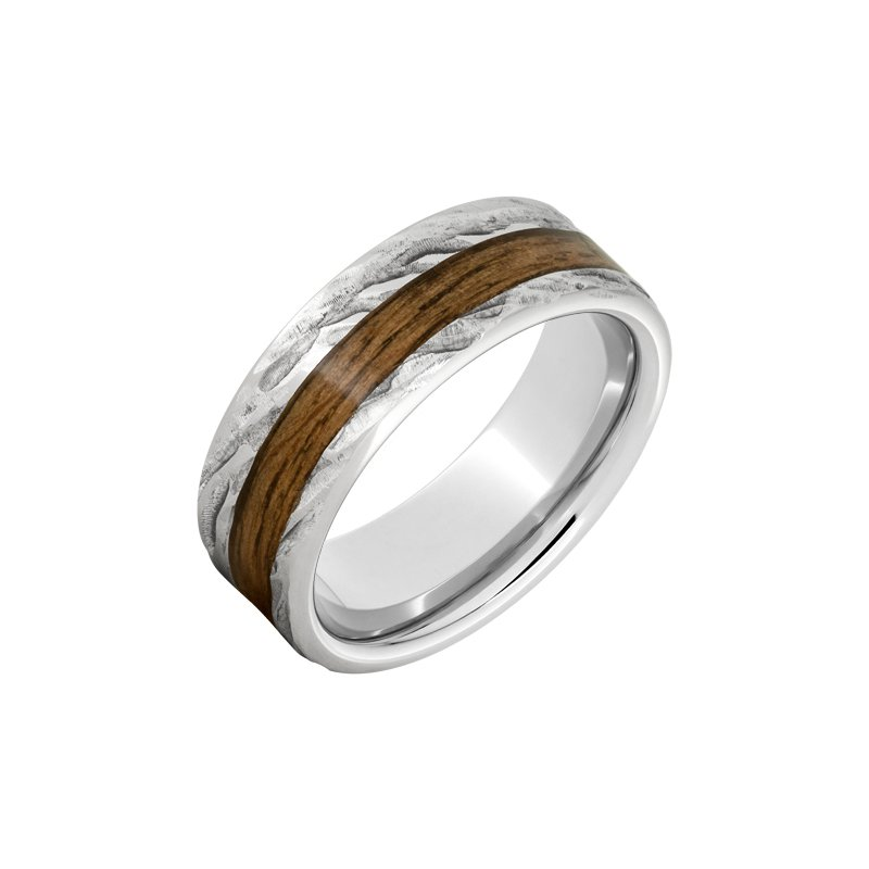 "Calvin Broyles Barrel Aged Serinium Wedding Band Off-Center ""Jack Daniels"" Barrel Aged™ Inlay with Bark Finish"