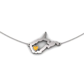 Sterling Silver Heart in West Virginia Necklace, with Heart Shape Citrine