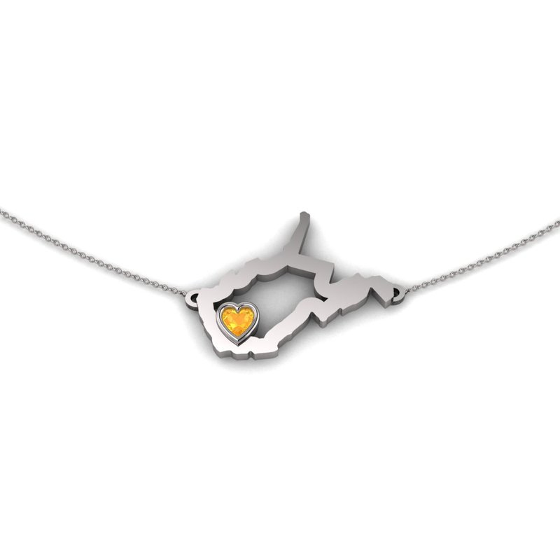 Heart in WV Sterling Silver Heart in West Virginia Necklace, with Heart Shape Citrine