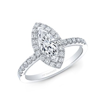 Proposal Ready 1/2 Carat Marquise Shape Center Diamond Halo Engagement Ring