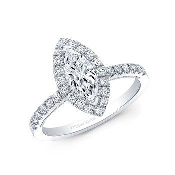 Proposal Ready 1/2 Carat Marquise Shape Center Diamond Halo Engagement Ring