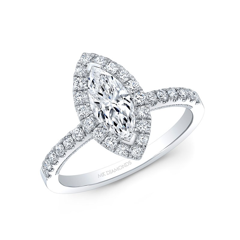 Calvin Broyles Proposal Ready 1/2 Carat Marquise Shape Center Diamond Halo Engagement Ring