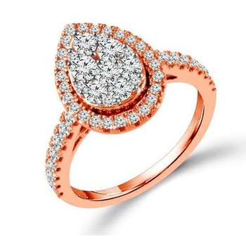 Proposal Ready 10 Karat Rose Gold 1 Carat Total Weight Pear Shape Engagement Ring
