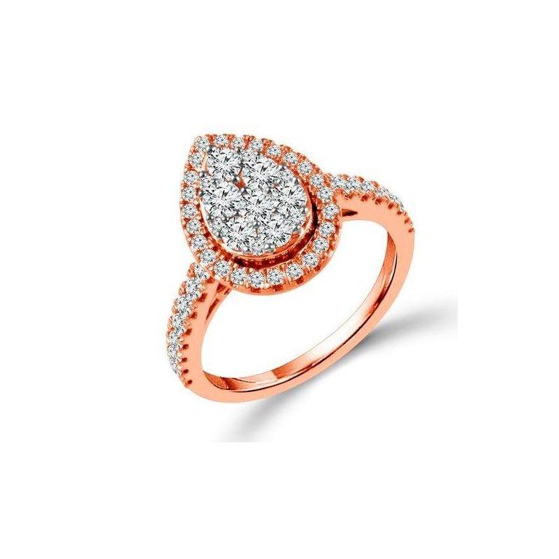 Calvin Broyles Proposal Ready 10 Karat Rose Gold 1 Carat Total Weight Pear Shape Engagement Ring