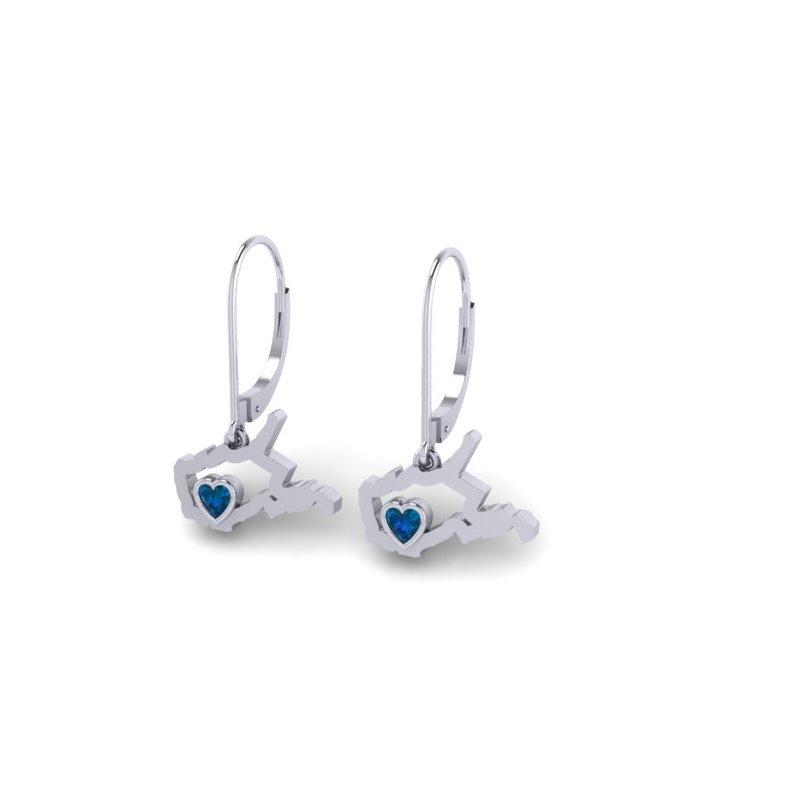 Heart in WV Sterling Silver Heart in West Virginia Blue Sapphire Earrings