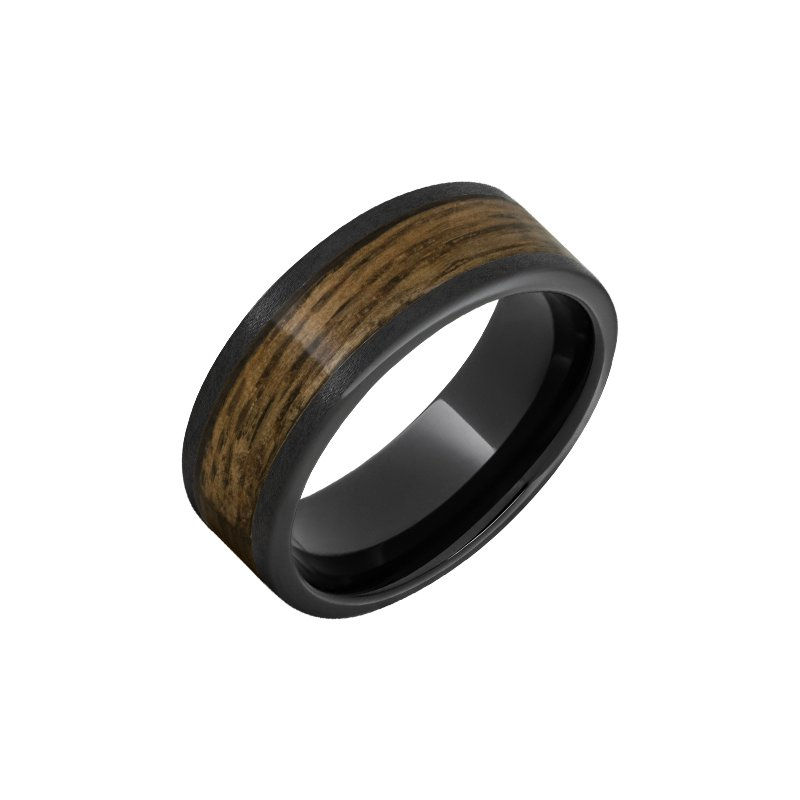 """Calvin Broyles Barrel Aged Black Ceramic Wedding Band with """"Woodford Reserve"""" Bourbon Inlay and Stone Finish"""