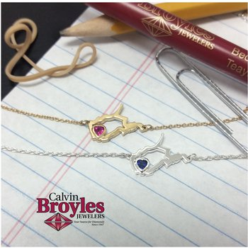 14 Karat Yellow Gold Heart in West Virginia Necklace, with Heart Shape Ruby