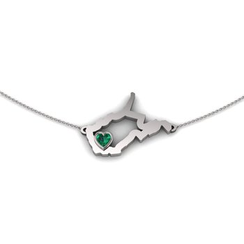 Sterling Silver Heart in West Virginia Necklace, with Heart Shape Emerald