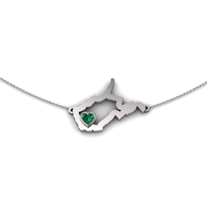 Heart in WV Sterling Silver Heart in West Virginia Necklace, with Heart Shape Emerald