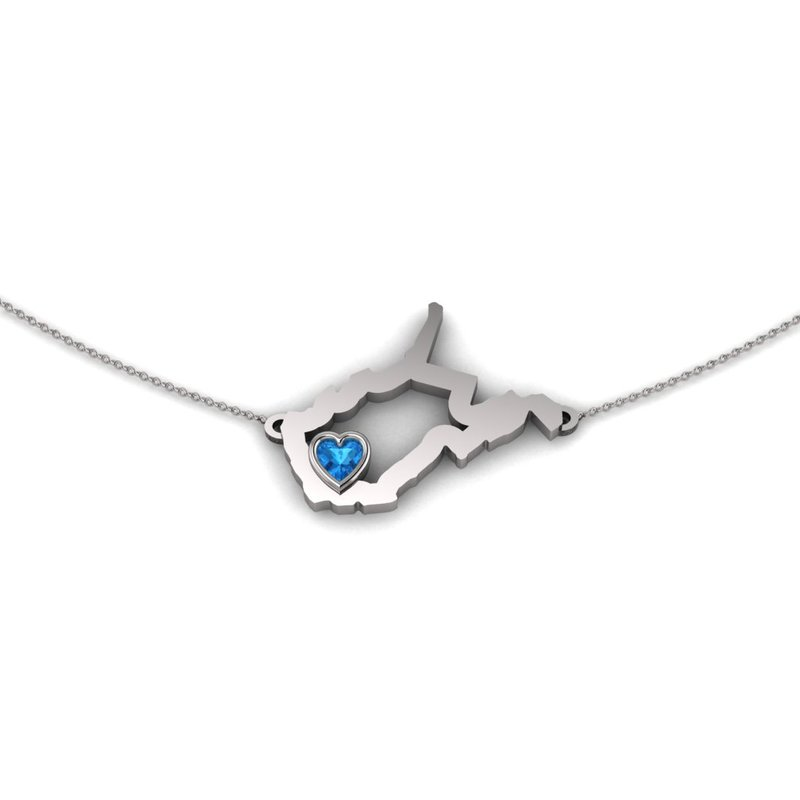 Heart in WV Sterling Silver Heart in West Virginia Necklace, with Heart Shape Blue Topaz
