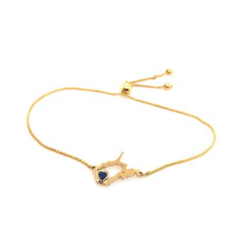 14 Karat Yellow Gold Heart in West Virginia Bolo Bracelet with Heart Shape Blue Sapphire
