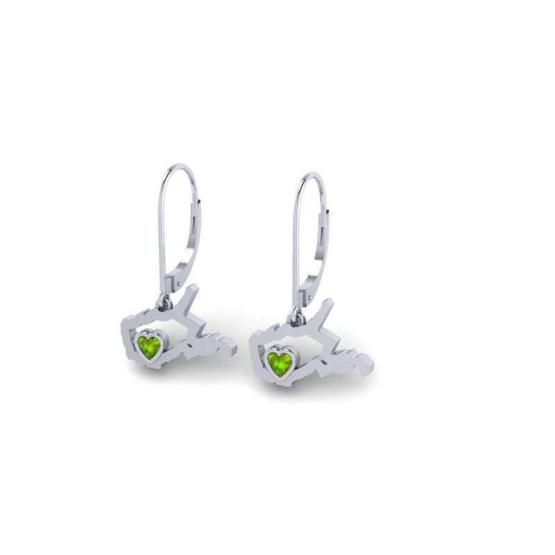 Heart in WV Sterling Silver Heart in West Virginia Peridot Earrings