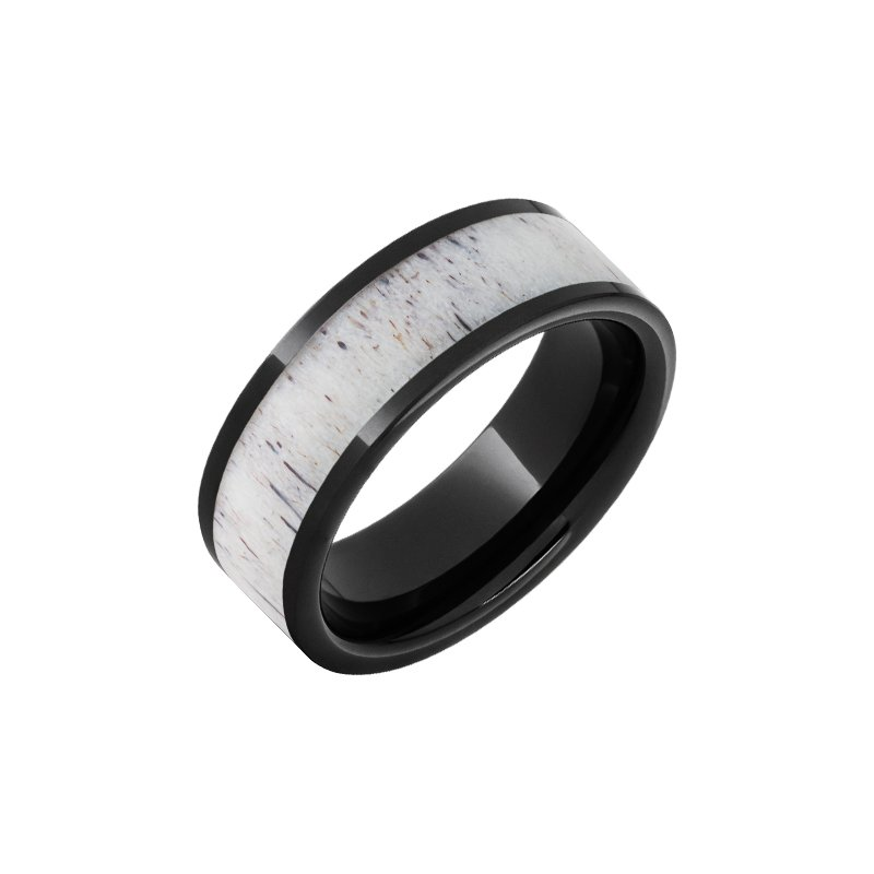 Calvin Broyles Barrel Aged Black Diamond Ceramic Wedding Band with 5mm Antler Inlay