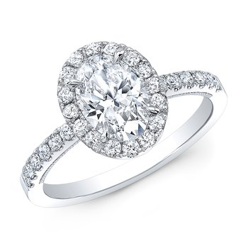 Proposal Ready 1 Carat Oval Shape Center Diamond Halo Engagement Ring