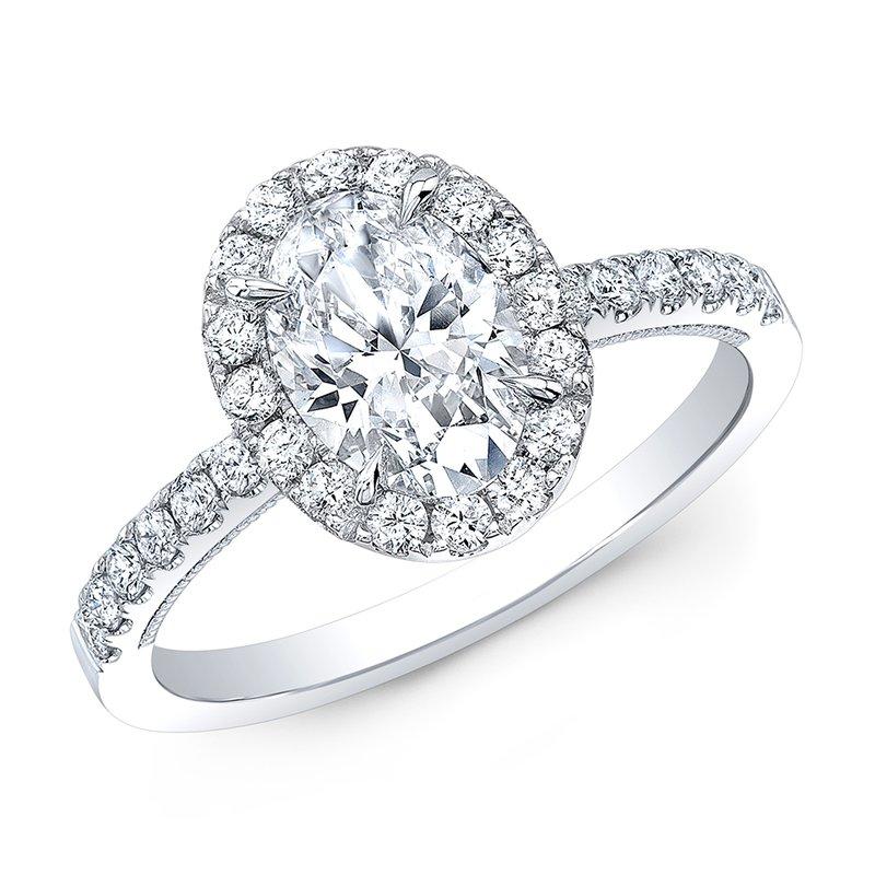 Calvin Broyles Proposal Ready 1 Carat Oval Shape Center Diamond Halo Engagement Ring