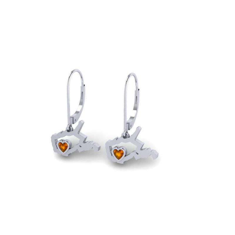 Heart in WV Sterling Silver Heart in West Virginia Citrine Earrings