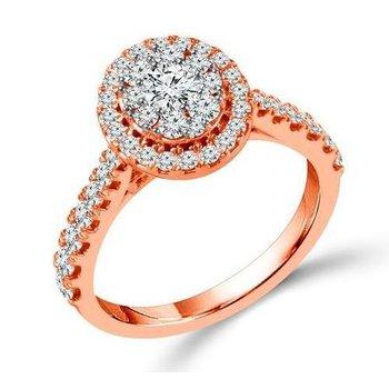 Proposal Ready 10 Karat Rose Gold 1 Carat Total Weight Oval Shape Engagement Ring