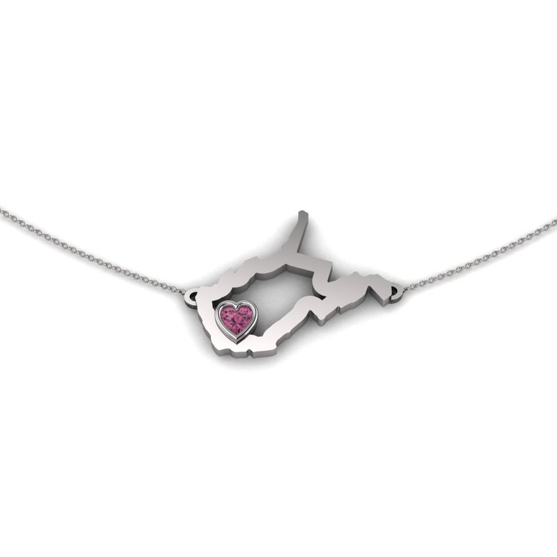 Heart in WV Sterling Silver Heart in West Virginia Necklace, with Heart Shape Pink Tourmaline
