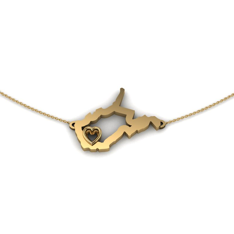 Heart in WV 14 Karat Yellow Gold Heart in West Virginia Necklace, with Heart Shape Outline