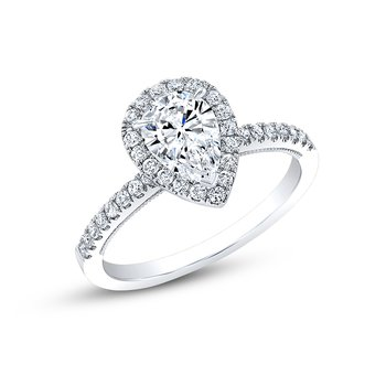 Proposal Ready 1/2 Carat Pear Shape Center Diamond Halo Engagement Ring