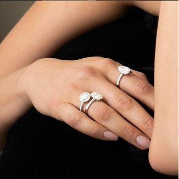 Proposal Ready 1/2 Carat Pear Shape Center Diamond Halo Engagement Ring