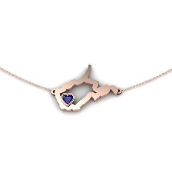 14 Karat Rose Gold Heart in West Virginia Necklace, with Heart Shape Blue Sapphire