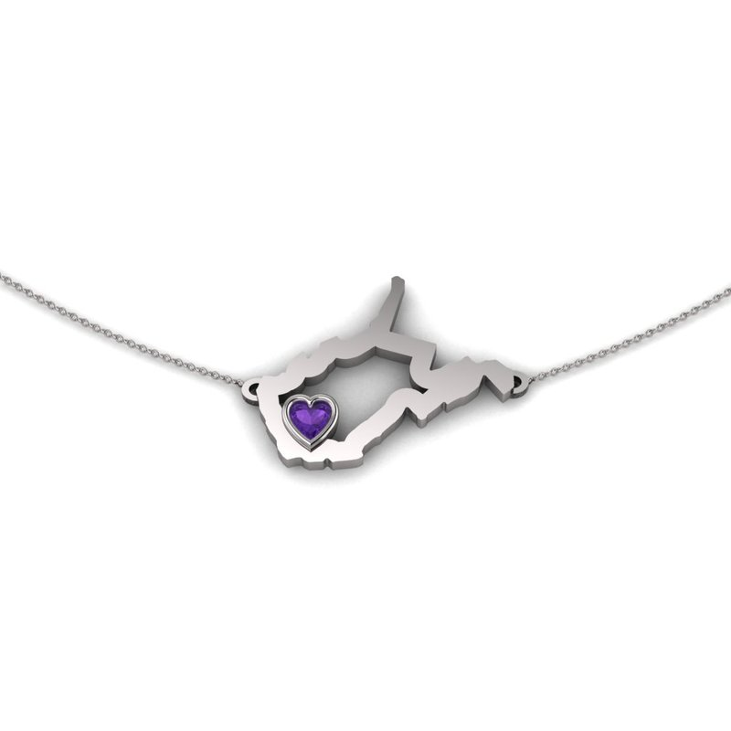 Heart in WV Sterling Silver Heart in West Virginia Necklace, with Heart Shape Amethyst
