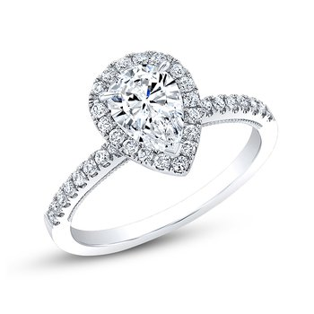 Proposal Ready 1 Carat Pear Shape Center Diamond Halo Engagement Ring