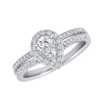 Proposal Ready 14kt White Gold 1 Carat Total Weight with 3/8 Carat Center Pear Shaped Engagement Ring