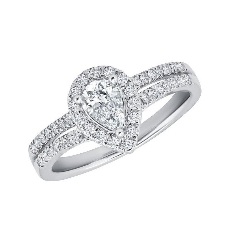 Calvin Broyles Proposal Ready 14kt White Gold 1 Carat Total Weight with 3/8 Carat Center Pear Shaped Engagement Ring