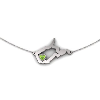 Sterling Silver Heart in West Virginia Necklace, with Heart Shape Peridot