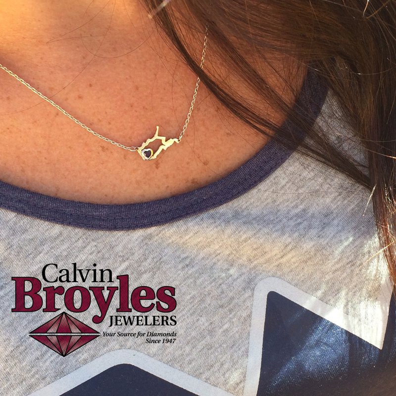 Heart in WV Sterling Silver Heart in West Virginia Necklace, with Heart Shape Peridot