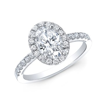 Proposal Ready 3/4 Carat Oval Shape Center Diamond Halo Engagement Ring