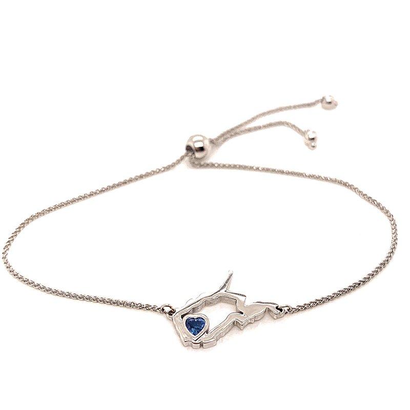 Heart in WV 14 Karat White Gold Heart in West Virginia Bolo Bracelet with Heart Shape Blue Sapphire
